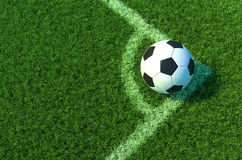 Soccer ball on green grass, Corner of soccer field .3D illustration Royalty Free Stock Photography
