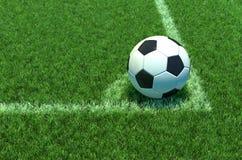 Soccer ball on green grass, Corner of soccer field .3D illustration Stock Photo