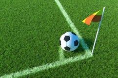 Soccer ball on green grass, Corner of soccer field .3D illustration. Soccer ball on green grass, Corner of soccer field Royalty Free Stock Photo