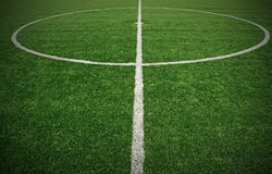Soccer ball green grass field Royalty Free Stock Photo