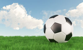 Soccer ball on green grass field with blue sky royalty free stock images