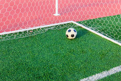Soccer ball on green grass in goal net Royalty Free Stock Images