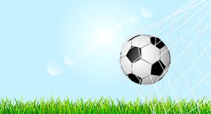 Soccer ball on a green grass lawn 2. Banner with soccer ball and grass lawn.The soccer ball is in the goal net. Soccer ball on green grass against the blue sky Vector Illustration
