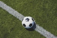 Soccer ball on green grass over the white line royalty free stock photo