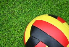 Soccer ball on green grass. Sport background royalty free stock image