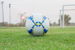 Soccer ball on the green grass Stock Images