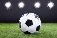 Soccer Ball On Green Pitch Stock Image
