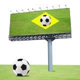 Soccer ball on green soccer field Stock Photo