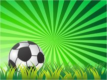 Soccer Ball On green sun ray Background. The design of Soccer Ball On green sun ray Background for soccer sport Royalty Free Stock Photos