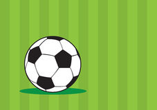 Soccer Ball Green Vector Background Design. Vector illustration of soccer ball with black and white truncated icosahedron pattern isolated on green striped Royalty Free Stock Images