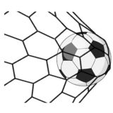 Soccer ball in a grid royalty free stock images