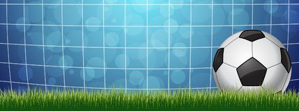 Soccer Ball in a Grid. On blue background Royalty Free Stock Photography