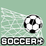 Soccer Ball in a grid of gate Royalty Free Stock Photo