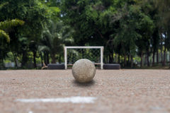 Soccer ball on ground, Street soccer ball, Futsal Royalty Free Stock Images