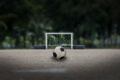 Soccer ball on ground, Street soccer ball, Futsal Stock Photo