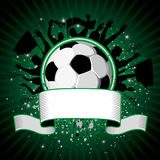 Soccer ball on grunge background. Soccer ball (football) on grunge background with silhouettes of fans, paint splatters and drips Stock Photo