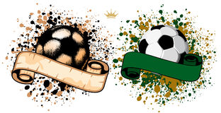 Soccer ball on grunge background Royalty Free Stock Photos