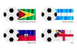 Soccer Ball with Guyana, Honduras, Haiti and Herm  Royalty Free Stock Photo