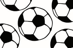 Soccer ball hand drawn simple illustration, black ball pattern o Stock Photography