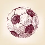 Soccer ball hand drawn vector llustration Stock Photography