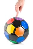Soccer ball in hand isolated Stock Images