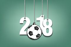 Soccer ball  and 2018 hanging on strings. New Year numbers 2018 and soccer ball as a Christmas decorations hanging on strings. Vector illustration Stock Images