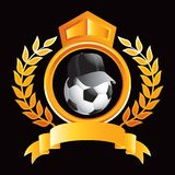 Soccer ball with hat on gold royal crest Stock Images