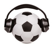 Soccer ball with headphones Royalty Free Stock Photo