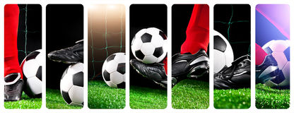 Soccer ball with his feet on the football field Stock Photos