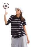 Soccer ball on his finger Stock Photo