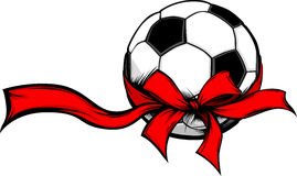 Soccer Ball with Holiday Ribbon Image Stock Photography