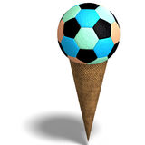 Soccer ball in an ice cream cone Stock Images