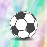 Soccer ball icon with shadow and flash rays on wonderful hologra. Phic iridescent effect of foil background Royalty Free Stock Photos