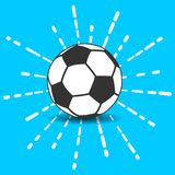 Soccer ball icon with shadow and flash white linear rays of fire. Work on a blue background Royalty Free Stock Photo