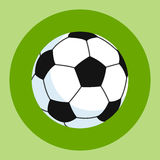 Soccer ball icon. White-black soccer ball on a green and red background. Sports Equipment. Vector Illustration. Stock Photography