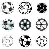 Soccer ball icons set stock illustration