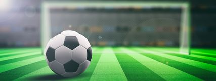 Soccer ball on an illumunated field grass background. 3d illustration Royalty Free Stock Photos