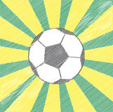 Soccer ball. Illustration of a soccer ball in black and white. Rays come out of it in green and yellow (Brazilian flag colours). It represents the FIFA World Cup Vector Illustration
