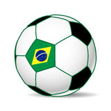 SOccer ball. Illustration of a soccer ball with the flag of Brazil. Futboll 2014 Stock Photography