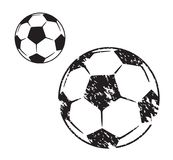 Soccer ball illustration in two variants. On white background Royalty Free Stock Images