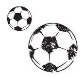 Soccer ball illustration in two variants. On white background stock illustration