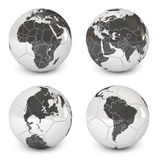 Soccer ball with an image of earth Royalty Free Stock Photography