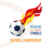 Soccer ball with the image of fire in the background. Football concept isolate on white. Football game character. Symbols ball, sign soccer Stock Images