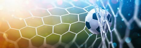 Free Soccer Ball In Goal. Multicolor Background Royalty Free Stock Photos - 156160608