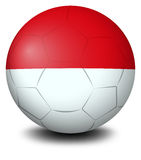 A soccer ball with the Indonesian flag Stock Photography