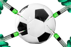 Soccer ball injection. Soccer ball with hands and syringes Stock Photography
