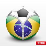 Soccer ball inside Brazil symbol. Championship 2014. Vector sport Illustration Stock Image