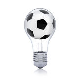 Soccer ball inside the bulb Stock Images