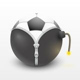 Soccer ball inside a burning bomb vector Royalty Free Stock Photos