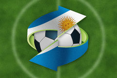 Soccer ball inside exchange symbol with Argentina flag. Royalty Free Stock Photography